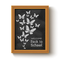 background with butterflys on chalkboard