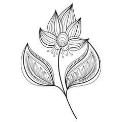 Vector Beautiful Monochrome Contour Flower