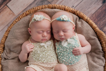 Twin Baby Girls Sleeping in a Wicker Basket