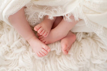 Feet of Twin Baby Girls