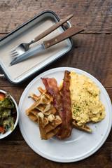 Scrambled Eggs with Salad Breakfast