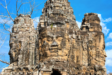 Giant stone faces of Bayon temple in Angkor Thom, Siem Reap, Cambodia