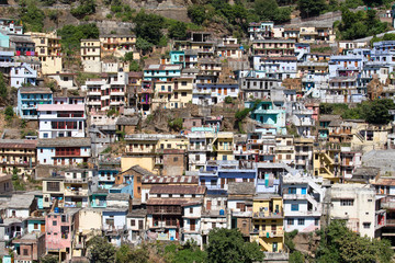 View of the houses in the city Devprayag. Uttarakhand, India.