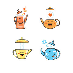 Vector set with cute cartoon teapots of various forms. Vector clip art.
