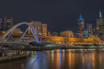 Night time, Pedestrian Bridge southbank and Melbourne city, Victoria, Australia.