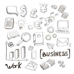 business finance doodle hand drawn elements. Concept - graph and