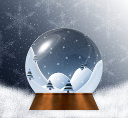Snow globe with miniature winter landscape scene inside, on the blue and white snowy background with snowflake pattern.