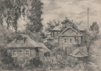 Russian village, drawing in pencil.