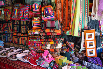 Market stall with colorful indigenous clothes, Argentina