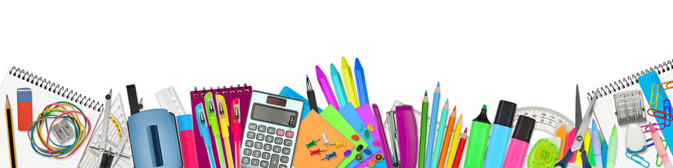 school / office supplies on white background