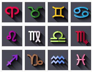 Zodiac signs. Flat design.