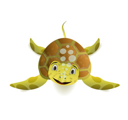 cute cartoon sea turle front view