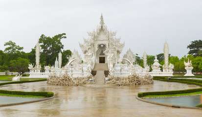 White temple called Wat Rong Khun from north of Thailand, The most famous traveler visited in Thailand