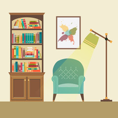 Reading nook with armchair and floor lamp