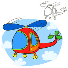 Helicopter. Coloring book page. Cartoon vector illustration.