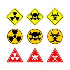 Set sign Biohazard, toxicity, dangerous. Yellow signs of various