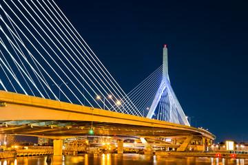 Zakim Bunker Hill bridge in Boston, MA by night