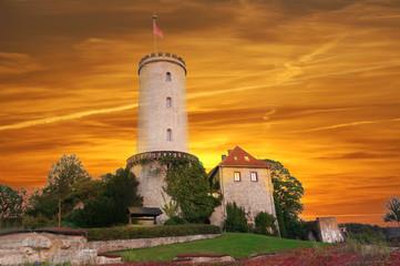 Fototapete - Sparrenburg bei Sonnenuntergagng