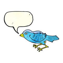 cartoon garden bird with speech bubble