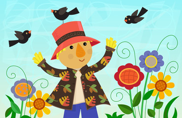 Scarecrow and Friends - Cute scarecrow is standing around colorful flowers with small birds all around him. Eps10