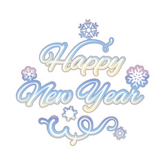 Happy new year isolated text