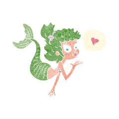 cartoon mermaid in love