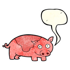 cartoon pig with speech bubble