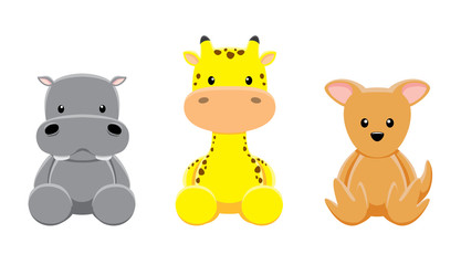 Hippotamus Giraffe Wallaby Doll Set Cartoon Vector Illustration