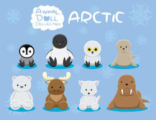Animal Dolls Arctic Set Cartoon Vector Illustration