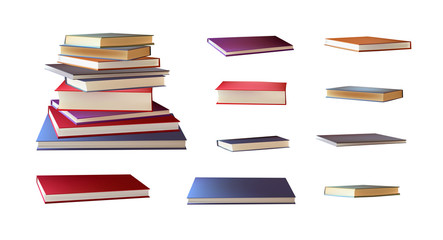 Stack of books, books laying horisontally icons isolated on white background