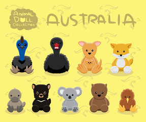 Animal Dolls Australia Set Cartoon Vector Illustration