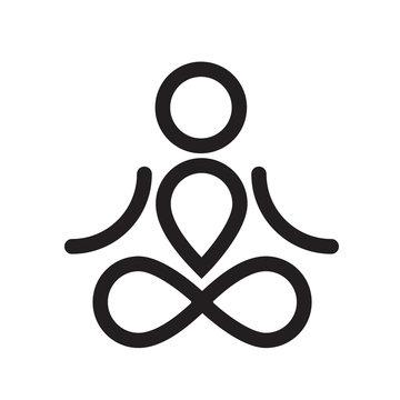 Yogi simple black icon or logo design