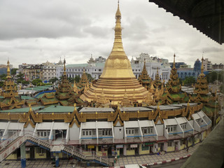 High angle view of Sule Pagoda, Yangon (Rangoon), Burma
