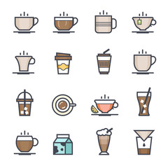 Coffee Icon Bold Stroke with Color on White Background. Vector Illustration