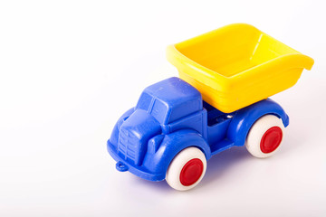 plastic car toy on white background