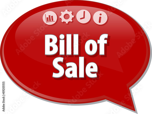bill of sale business term speech bubble illustration stock photo