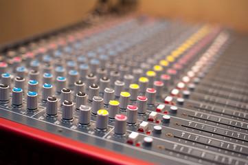 Music studio mixer detail