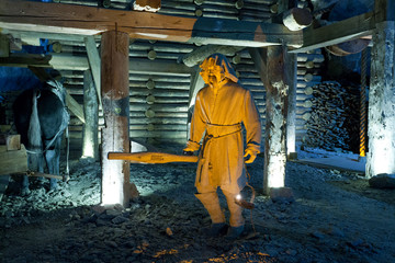 Scene from life of the miners extracting salt.Wieliczka Salt Mine (13th century) is one of the world's oldest salt mines.