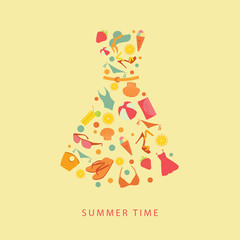 abstract illustration of a summer dress flat icons and elements