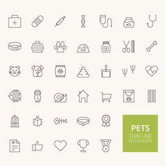 Pets Outline Icons for web and mobile apps