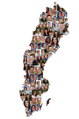 Schweden Karte Menschen junge Leute Gruppe Integration multikult