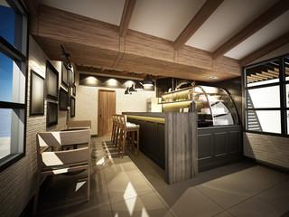 3d render of coffee shop ,3dwire frame render