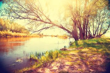 Fotoväggar - Autumn landscape with a river. Beautiful scene