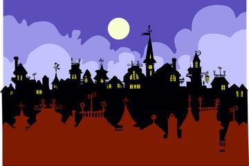 Cartoon Town silhouettes.