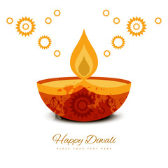 Beautiful diwali greeting card colorful background vector