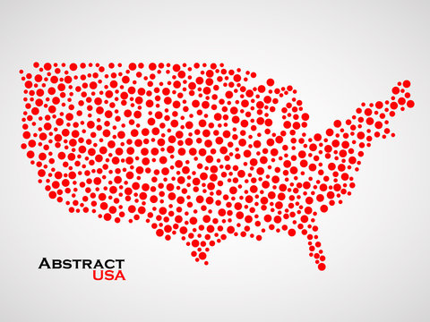 Abstract map of USA. Colorful background. Vector illustration