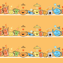 Vector seamless pattern with cartoon ware. Anthropomorphous teapots and cups on   orange  background.