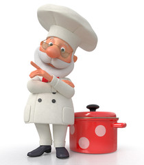 The cook with a pan