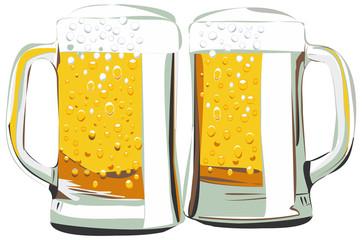Beer mugs vector illustration