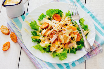 Healthy Caesar Salad with Cheese and Croutons